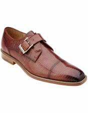 Mens Peanut/Tan Genuine Lizard Skin Leather Monk Strap Style Shoes