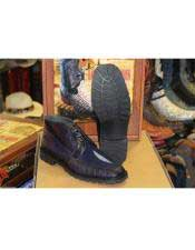 Los Altos Boots Mens Genuine Lizard Stingray Navy Blue Ankle Botas de