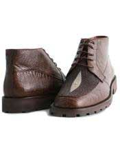 Altos Mens Stylish Brown Genuine Lizard & Stingray mantarraya skin Hornback