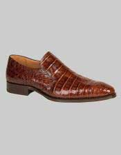Mezlan Loafers Brandy Crocodile Skin Shoes Authentic Mezlan Brand