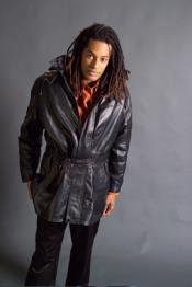 men's black trench coat