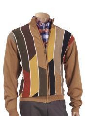 Long Sleeve Front Zipper Beige Multi Paneled Sweater