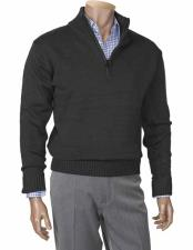 Mens houndstooth checkered Zippered Mock Neck Long Sleeve Black Sweater Available