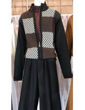 Mens Long Sleeve Black/White Zipper Style Mock Neck Pull Over Sweater
