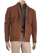 Mens Long Sleeve 5 Button Closure Shawl Collar Cardigan Brown Sweater