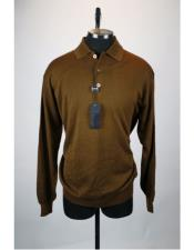 Mens Long Sleeve 3 Button Brown Solid Silk Blend Polo Sweater