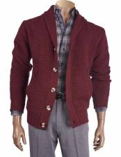 Mens Long Sleeve Shawl Collar Burgundy ~ Wine ~ Maroon Color