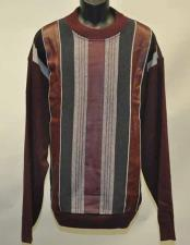 Mens 2 Piece Faux Leather Patch Fashion Pull Over Burgundy ~