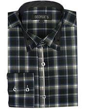 Mens Classic Black Long Sleeve Plaids And Checks Pattern Casual Dress Shirt