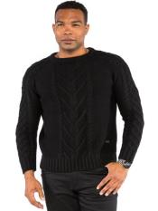 Mens Classic Cable Knit Crew Neck Sweater Available in Big And