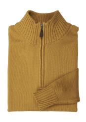 Mens Gold Mock Neck Acrylic Half-Zip Sweater