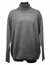 Mens Turtleneck Gray Acrylic Knit Mock Neck Long Sleeve Sweater Suit