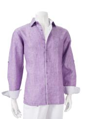 Mens Linen Roll-Up Sleeve Collared Shirt Lavender