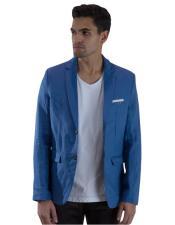 Mens Long Sleeve 2 Button Light Blue Linen Fabric Blazer