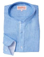 Mens Banded Collar Long Sleeve Light Blue 100% Linen Jacquard collarless Shirt