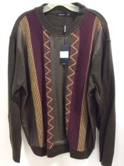 Mens Long Sleeve Olive/Burgundy ~ Wine ~ Maroon Color Faux Leather