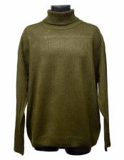 Acrylic Knit Mock Neck Olive Long Sleeve Turtleneck Sweater Suit Available