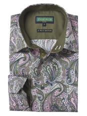 Dark Olive/Pink Cotton Paisley