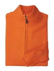 Orange Mens Half-Zip Style Acrylic Mock Neck Sweater Available in Big