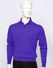 mens Purple long sleeve silk/cotton fine gauge knitwear