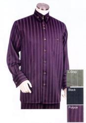 Point Collar Pinstripe Long Sleeve Purple Zoot Set