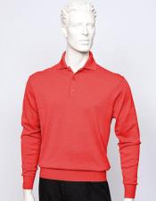 mens long sleeve silk/cotton fine gauge knitwear Red
