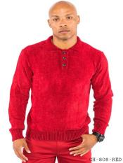 Mens Chenille Polo Sweater Available in Big And Tall Sizes