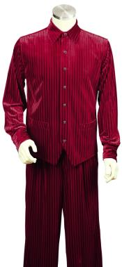 Ribbed Velvet Long Sleeve Dual Pocket Accents Red Zoot Suit