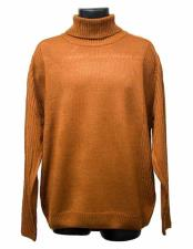 Mens Long Sleeve Turtleneck Acrylic Knit Mock Neck Rust Sweater Suit