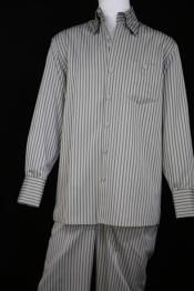 Victorian Stripe Long Sleeve Casual Two Piece Walking Outfit For Sale Pant Sets Suit Sage Point Collar