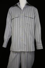 Mens Harlem Designer Long Sleeve Silver Nightingale Stripe Zoot Suit
