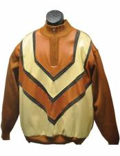 Mens Tan/Cream 2 Piece Zipper Closure Faux Leather Patch Long Sleeve