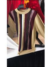 Mens Tan/Eggplant Long Sleeve Striped Pattern Sweater