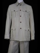 Mens Safari style Victorian Stripes Vintage Quad Pocket Long Sleeve 2pc Casual Two Piece Walking Outfit For
