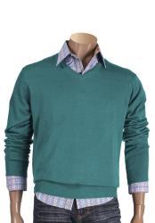 Mens Acrylic Turquoise Long Sleeve V Neck Style Sweater