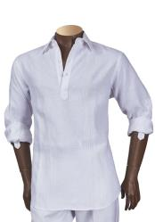 Mens 100% Linen Long Sleeve Shirt White