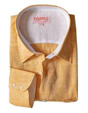 Mens Collared Yellow Linen Roll Up Sleeve Shirts