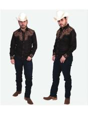 Mens Fashion Negro Button Closure Long Sleeves Floral Casual Cowboy Shirt