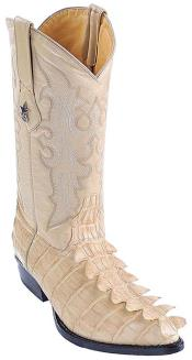 Croc Tail Print Beige Los Altos Men Cowboy Boot ~ botines