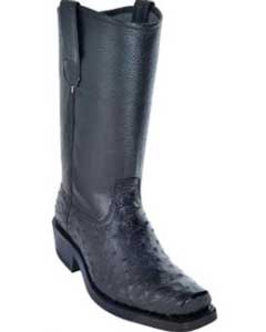 Los Altos Full Quill Ostrich Biker Boots With Leather Sole Black