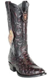 Mens Single Stitched Welt Ostrich Black Cherry Boots