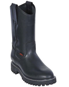 Mens Work BOOTS Black Round Toe Leather Grasso Los Altos Safety