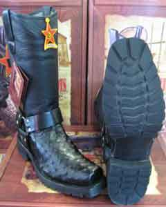 Altos Black Genuine Ostrich Motorcycle Biker Western Cowboy Boot