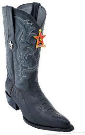 Los Altos Ostrich Leg Black Cowboy Western Boot Leather J-Toe