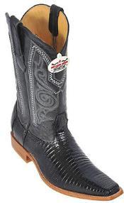 Black Teju Lizard Leather Western Classic Cowboy Boots