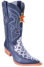 Design Leather Black Silver Los Altos Mens Western Boot ~ botines para hombre Cowboy 3x Toe