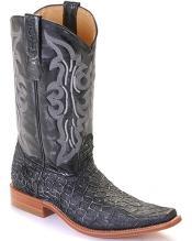 Leather Black Silver Los Altos Mens Cowboy Boots Western Classics Riding