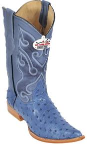 Ostrich Print Blue Jean Los Altos Mens Cowboy Boots Western Rider