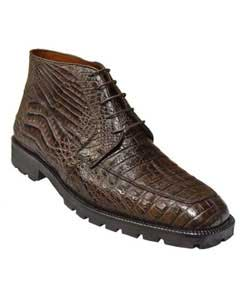 Mens Short Boots Los Altos Boots Brown All-Over Genuine Crocodile ~ World