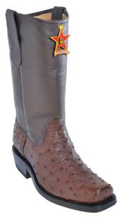 Altos Brown Genuine Ostrich Western Cowboy Biker Motorcycle Boot